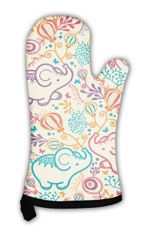 Oven Mitt, Elephants With Flowers Pattern *Free Shipping* - 5and15