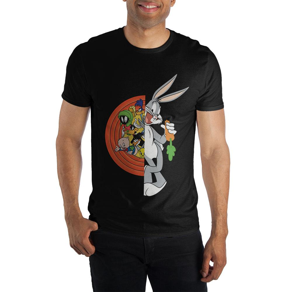 Looney Tunes Characters Featuring Bugs Bunny Men's Black T-Shirt - 5and15