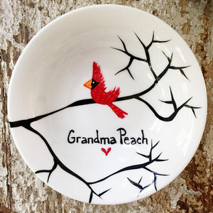 Cardinal Red Bird Personalized Ring Dish - 5and15