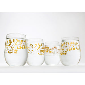 Gold Maidenhair Fern Stemless Glassware - 5and15