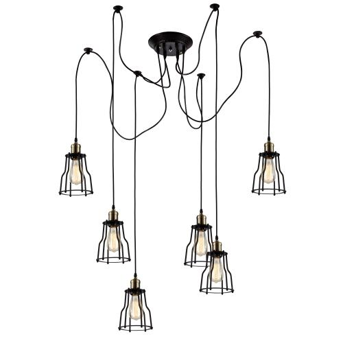 Wire Cage Chandelier 6 pendants - Bulbs Included, Matte Black/Antique Brass