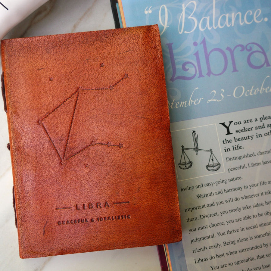 Libra Zodiac Handmade Leather Journal - 5and15
