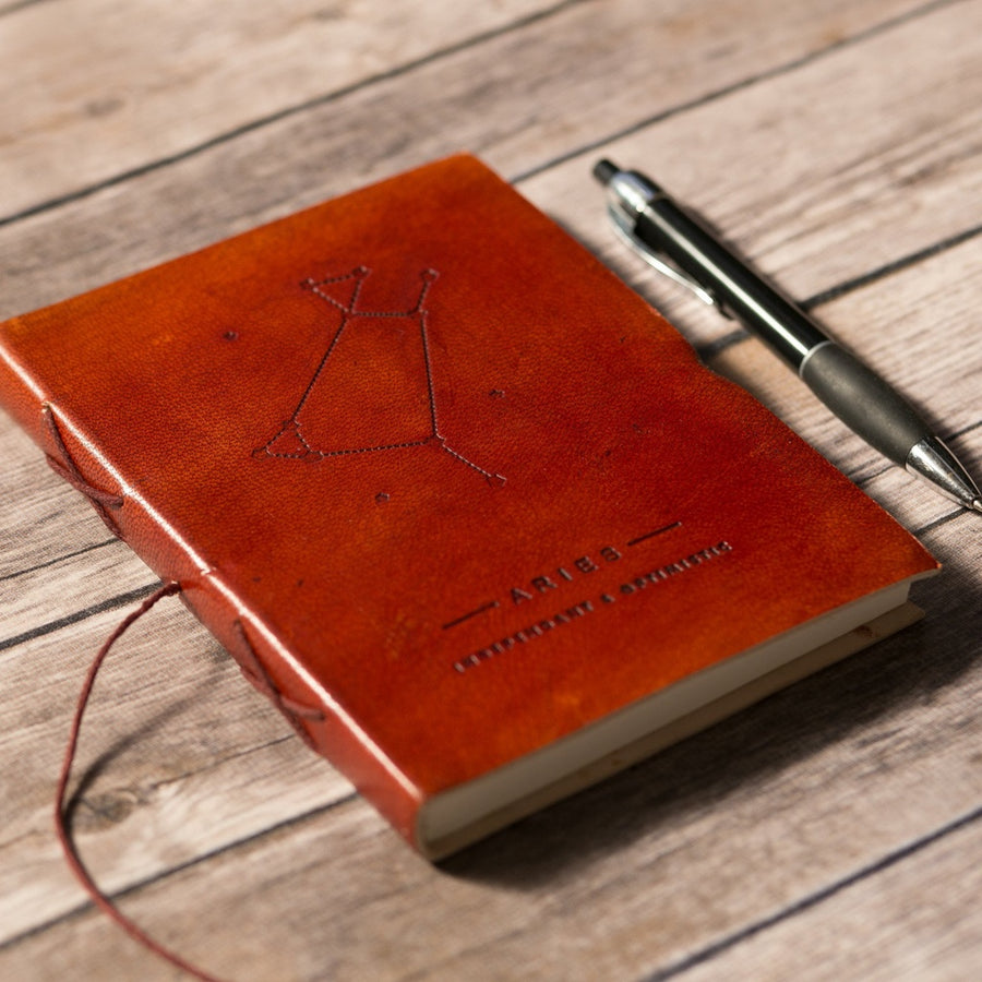 Aries Zodiac Handmade Leather Journal - 5and15