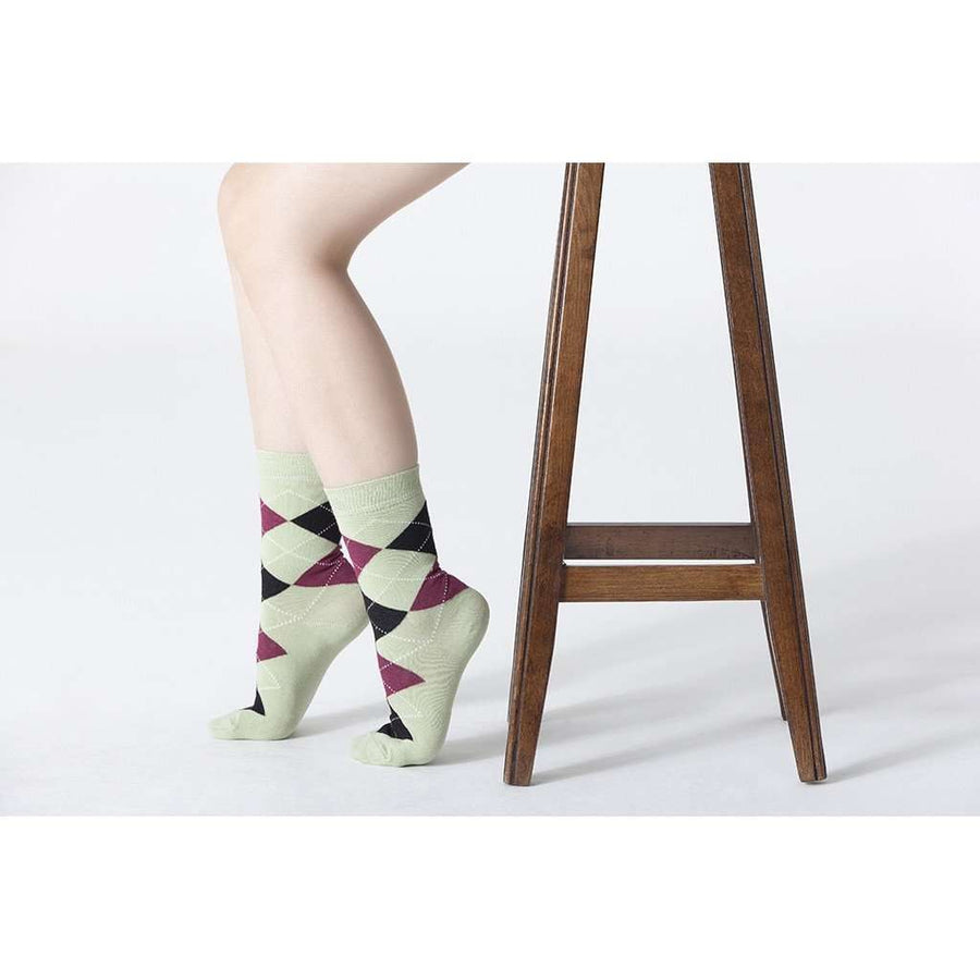 Womens 5-Pair Fun Argyle Crew Socks - 5and15
