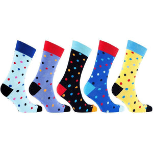 Men's 5-Pair Colorful Polka Dot Socks - 5and15