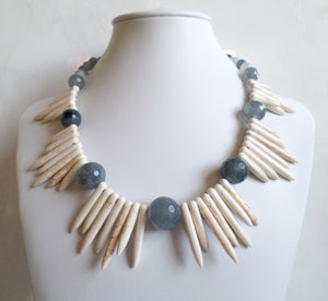 Gray Quartz & Howlite Necklace