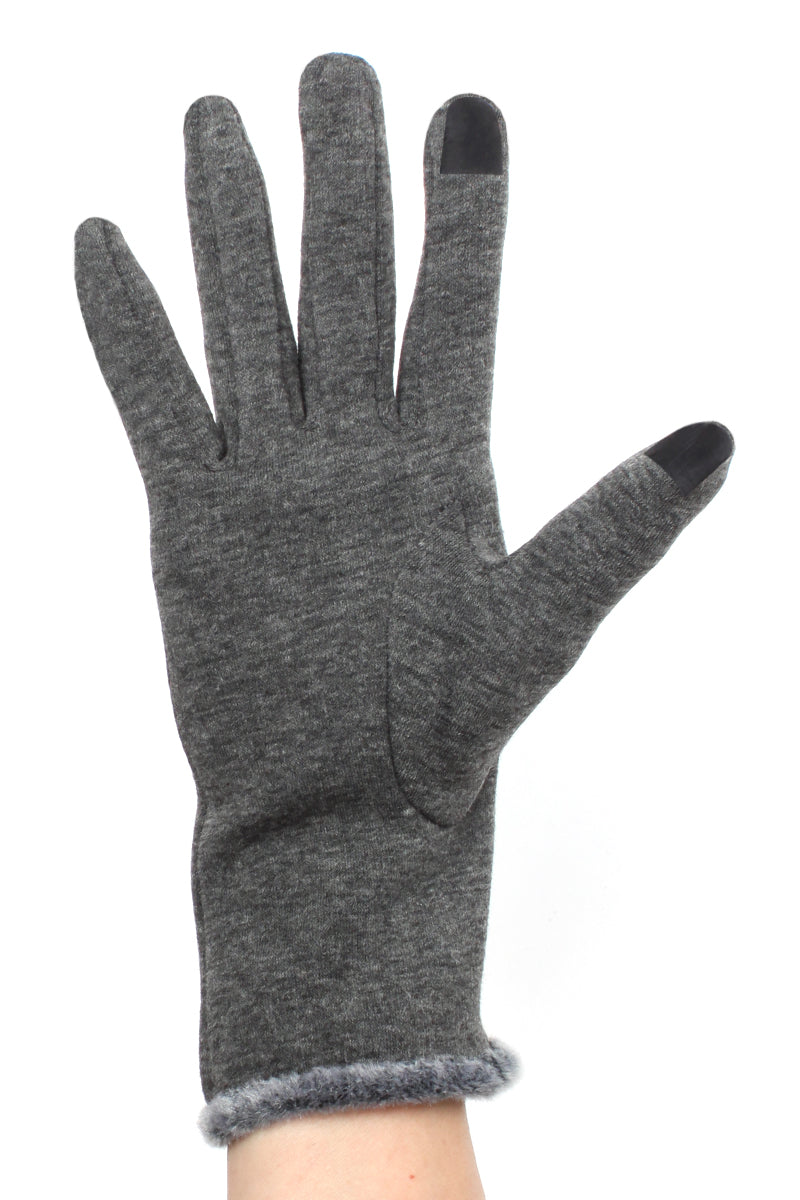 Womens Faux Fur Cuff Texting Gloves