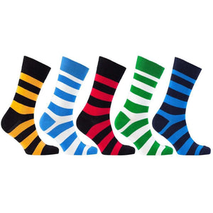 Men's 5-Pair Colorful Striped Socks - 5and15