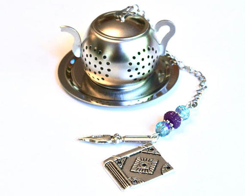 Book Tea Infuser with Pen, Reader Gift, Writer - 5and15