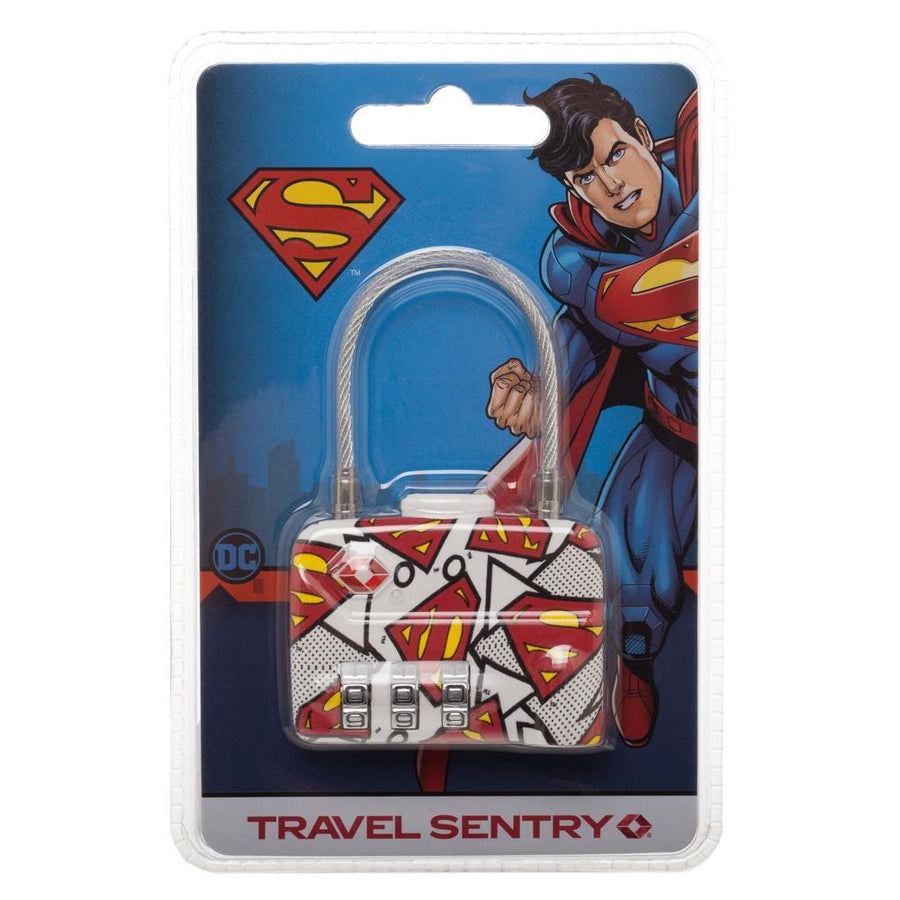 DC Comics Superman Logo TSA Approved Travel Combination Cable Luggage Lock for Suitcase Baggage - 5and15