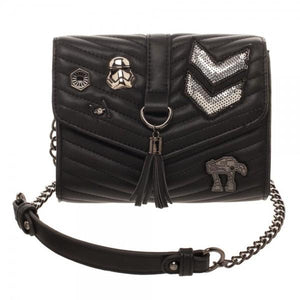Dark Side Quilted Crossbody Bag with Tassel - 5and15