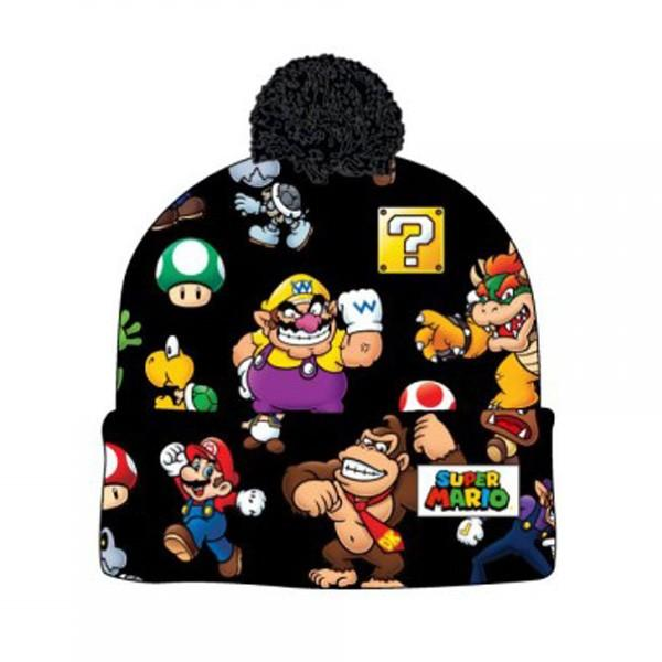 Super Mario Bros. Sublimated Print Cuff Knit With Pom Beanie - 5and15 d32fac3b0a64