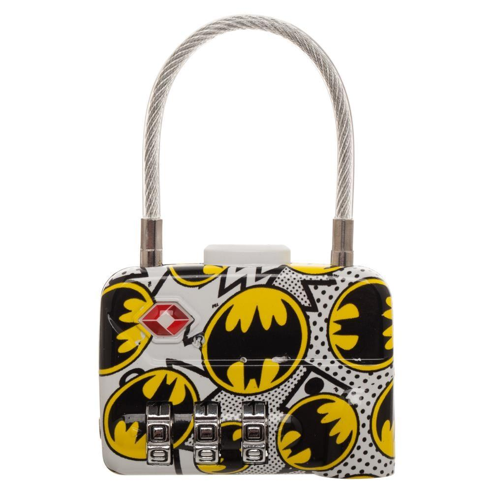 DC Comics Batman Logo TSA Approved Travel Combination Cable Luggage Lock for Suitcase Baggage - 5and15