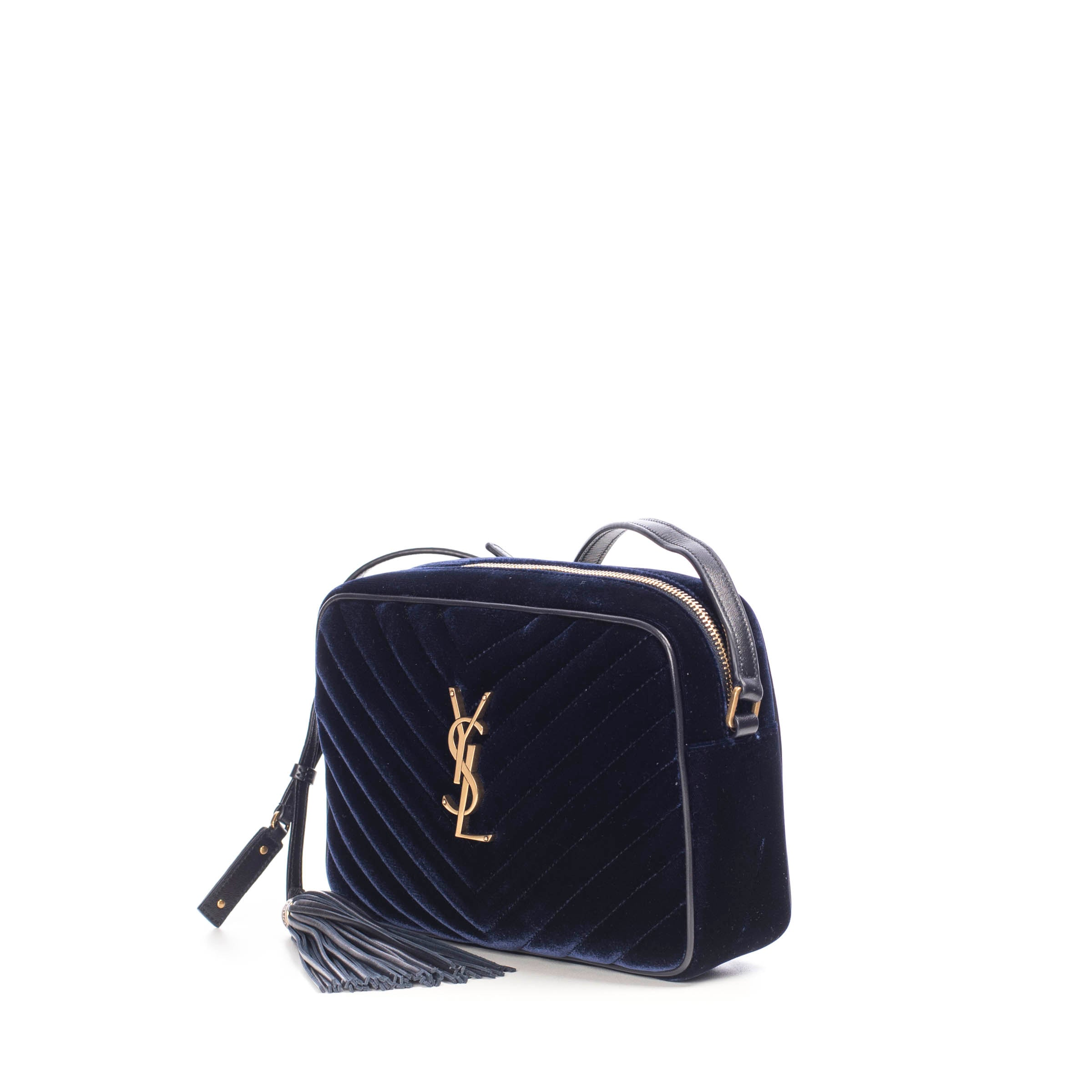 Navy Blue Lou Camera Bag In Quilted Velvet Chiiiq