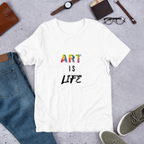 """Art is Life"" Men's Cotton Crew Tee Shirt"