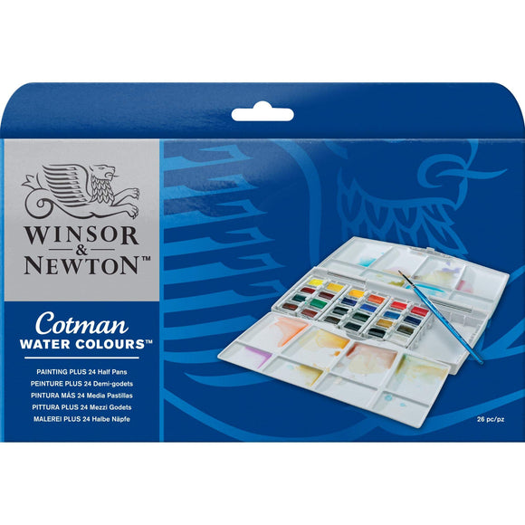 Winsor & Newton Cotman Water Color Pocket Plus Set of 24 Half Pans