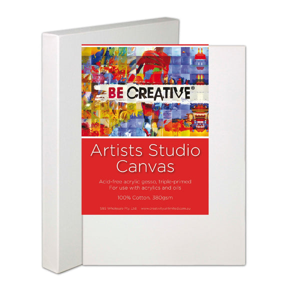 BE CREATIVE DEEP EDGE STRETCHED CANVAS, SET OF 3