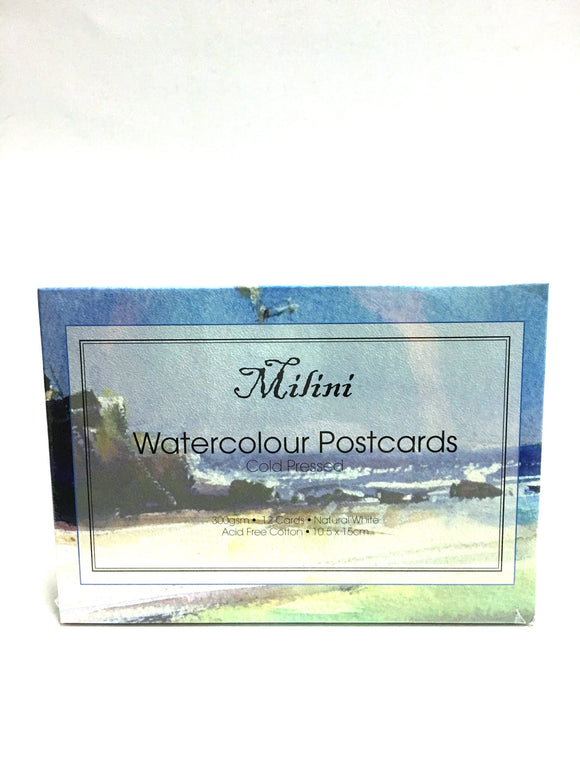 Milini Watercolour Cold Pressed Postcards 12 Pack