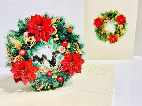 Christmas Poinsettia Wreath!  3D Card- Free Shipping!