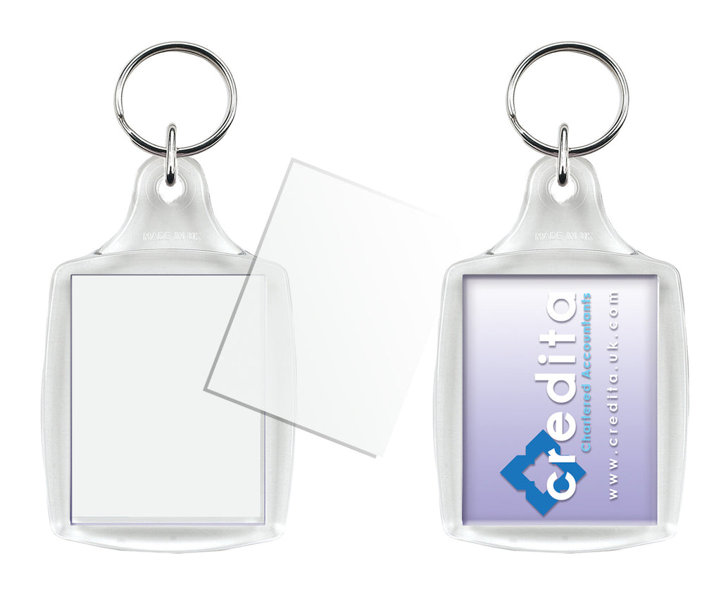 A4 Blank Keyrings - Passport Photo Size insert.