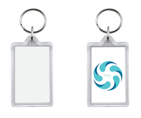 G1 Reusable Blank Keyrings - Rectangular 30 x 50mm Size insert.