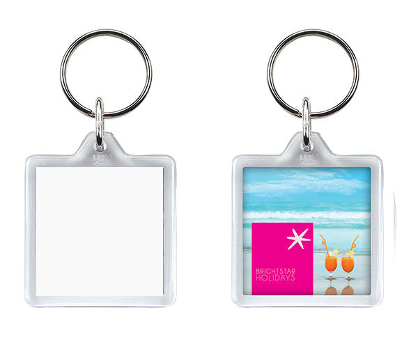 U1 Square Blank Keyrings - 32mm Square Size insert.