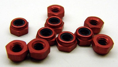 1412 - Red anodized aluminum locknuts (10)