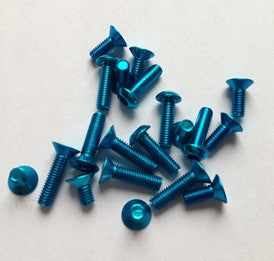 7075 M3x8mm Countersunk Head Hex Screw (5pcs) Light Blue