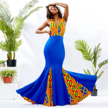 XQ040 Women African Print Maxi Evening Dress (Blue)  african fashion