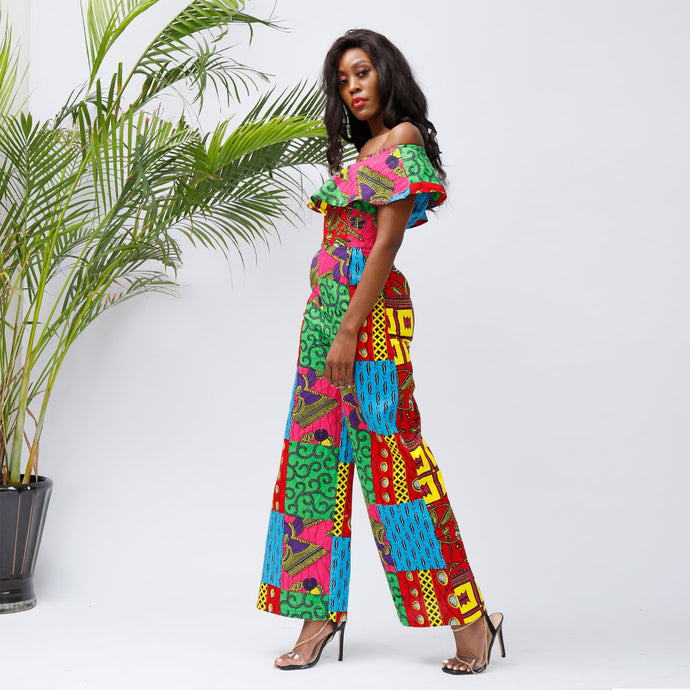 Women Jumpsuit Ruffle Off-Shoulder Long Ankara Jumpsuit  african fashion