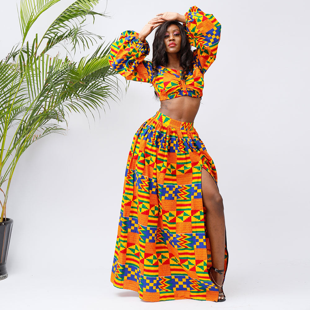 African Long Sleeves Tops and Skirt Sets for Women  african fashion