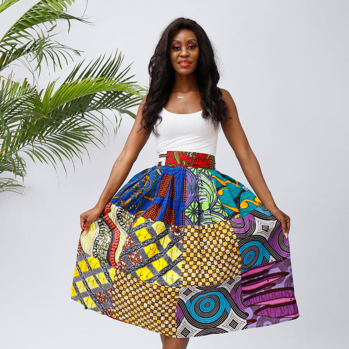 African Wax Printed Casual Women Skirt Wax Skirt Long Skirts with Pockets  african fashion