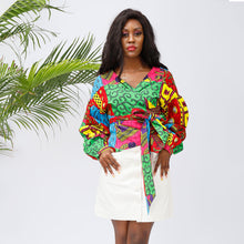 Women Wrap top African Print Shirt Sexy V Neck Blouse - SHENBOLEN