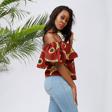 African Women Blouse Fashion Ankara Print One Shoulder Shirt  african fashion