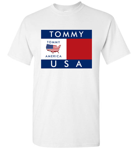 Tommy America US Flag Graphic T-Shirt, Gildan Short Sleeve Men T-Shirt