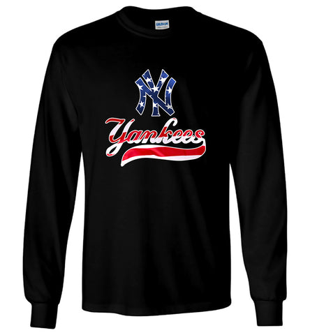 New York NY Yankees MLB T-Shirt American Flag Men Long Sleeve T-Shirt Size S-5XL