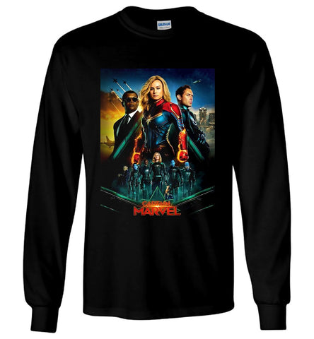 Captain Marvel LS T Shirt American Action Movie Tee 2019 Men Long Sleeve T-Shirt - Sport Fun Shop