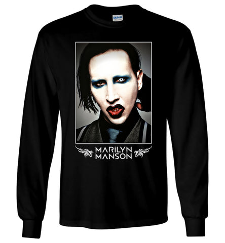 Marilyn Manson T-Shirt American Rock Music Men Black Long Sleeve T-Shirt - Sport Fun Shop