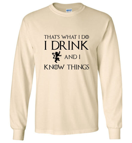 Game Of Thrones T-Shirt I Drink And I Know Things Men LS T-Shirt Multi Colors