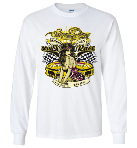 Racing Queen T-Shirt, Love Speed Racing Graphic Fashion Long Sleeve T-Shirts - Sport Fun Shop