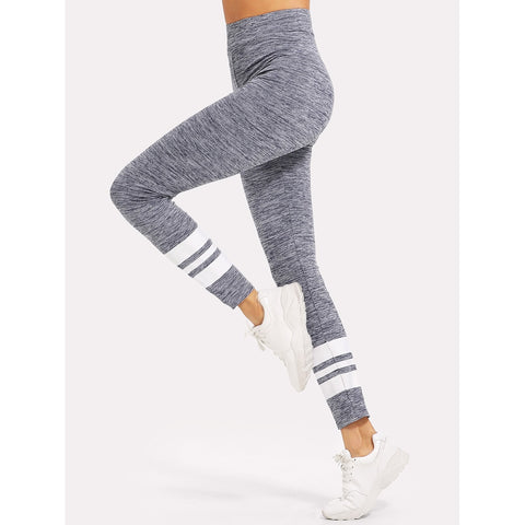 Striped Print Marled Knit Leggings - Sport Fun Shop