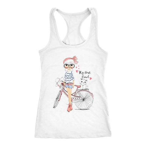 Nice Little Girl With Her Kitty Cat Hand Drawing Women Next Level Racerback Tank