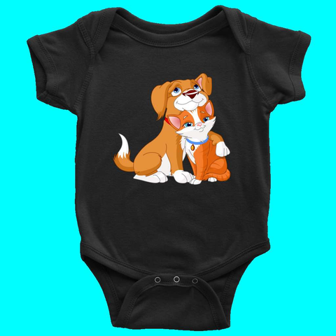 Cat Dog Friendship Funny Cartoon Novelty Baby Boy Girl Clothing Bodysuit - Sport Fun Shop