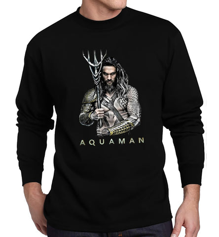 Aquaman T Shirt Jason Momoa  Superhero DC Comics Movies Men Long Sleeve T-Shirt - Sport Fun Shop