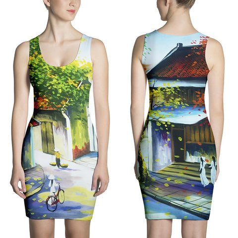 Hanoi Old Street Famous Painting HQ Sublimation Cut & Sew Dresses Made In USA - Sport Fun Shop