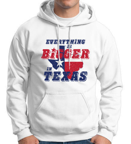 Everything's Bigger in Texas Hooded Sweatshirt Map Graphic Art Men Hoodie - Sport Fun Shop