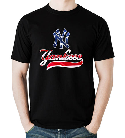 New York NY Yankees MLB T-Shirt American Flag Men Black Tee T-Shirt Size S-5XL