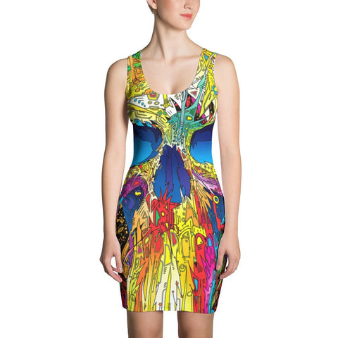Colorful Cartoon Graphic HQ Handmade Cut & Sew Dress - Sport Fun Shop