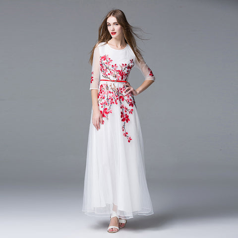 Spring Summer Flowers Runway Maxi Dress Women's Floral Embroidery Luxury Party White Long Dress - Sport Fun Shop