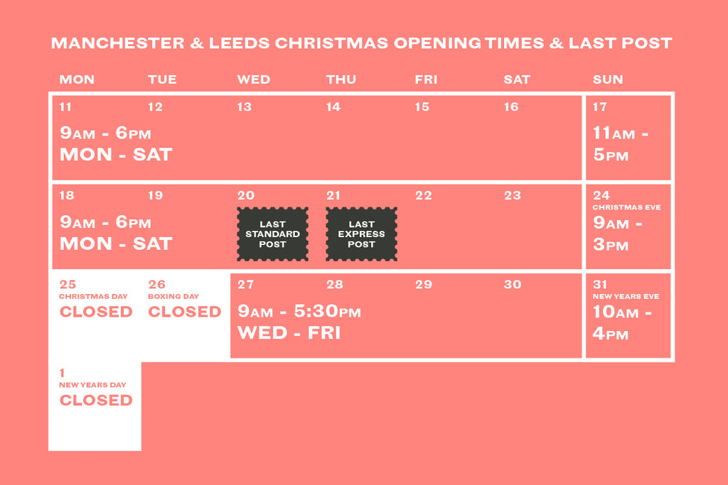Manchester & Leeds Christmas Opening Times & Last Post